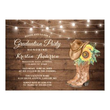 Sunflowers Cowgirl Boots Graduation Party Invitation