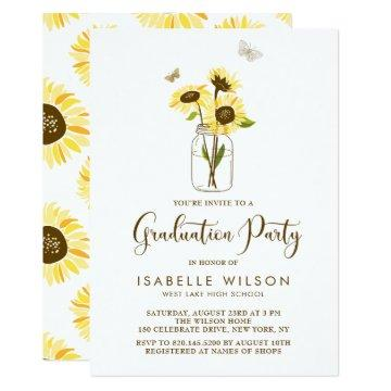 Sunflowers on Mason Jar Summer Graduation Party Card