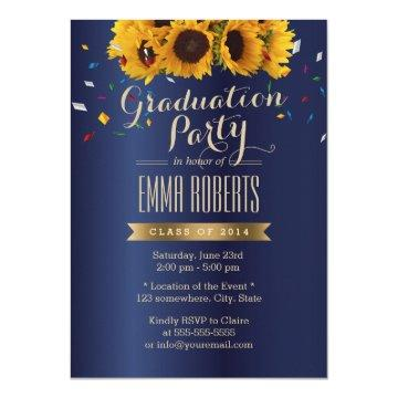 Sunflowers Royal Blue Confetti Graduation Party Card