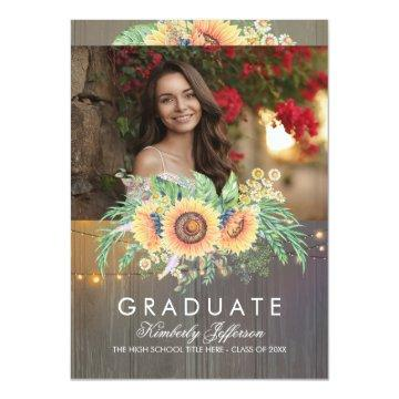 Sunflowers Rustic Wood Photo Graduation Invitation