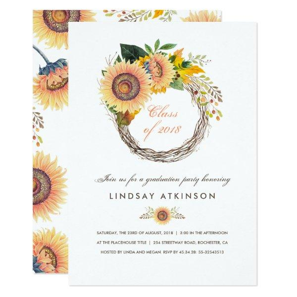 Sunflowers Wreath Rustic Fall Graduation Party Card