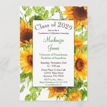 Sunflowers Yellow Floral Graduation Invitation
