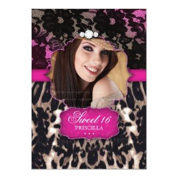 Sweet Sixteen Leopard Lace  Pink Brown