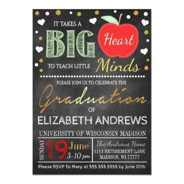 Teacher Graduation Chalkboard Takes a Big Heart Invitation