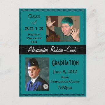 Teal and Black Graduation Invitation Announcement