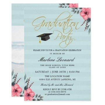Teal Blue Pink Floral Gold Script Photo Graduation Invitation