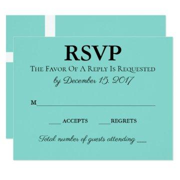 Teal Blue Traditional Wedding Suite RSVP Card