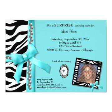 Teal Bow With Pearls And White Zebra Stripes Card