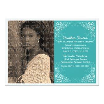 Teal Elegant Swirls Photo Graduation Invite