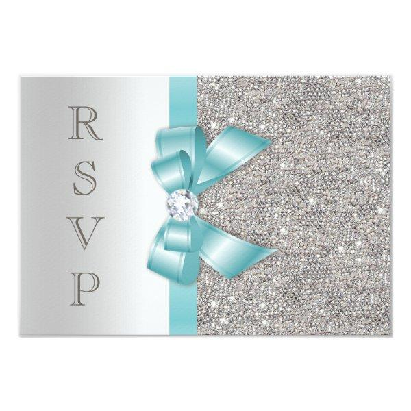 Teal Faux Bow Silver Diamonds RSVP Card