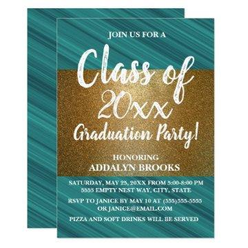 Teal Gold Glitter Photo Grad Party