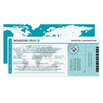 Teal Graduation World Traveler Boarding Pass