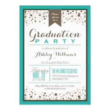 Teal Green, White, and Taupe Graduation Party Card