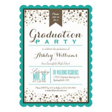 Teal Green, White, & Taupe Graduation Party Card