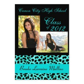 Teal leopard animal print graduation announcement