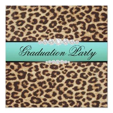 Teal Leopard Graduation Party Invitation