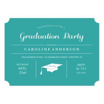 Teal Modern Chic Graduation Invitation