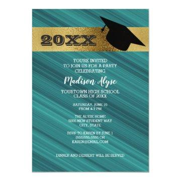 Teal with Gold and Graduation Cap Party Invitation