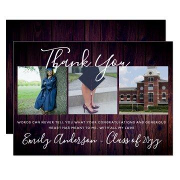 Thank You Graduation Card 3 x PHOTO Collage Rustic