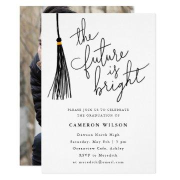The Future Is Bright Tassel Graduation Party Photo Invitation