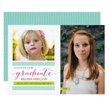 Then and Now Mint & Pink Chevron Photo Graduation Card