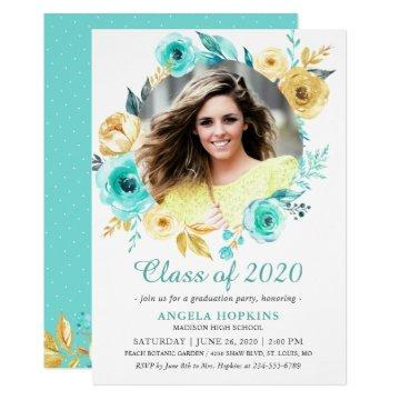 Tiffany Gold Floral Photo Graduation Announcement