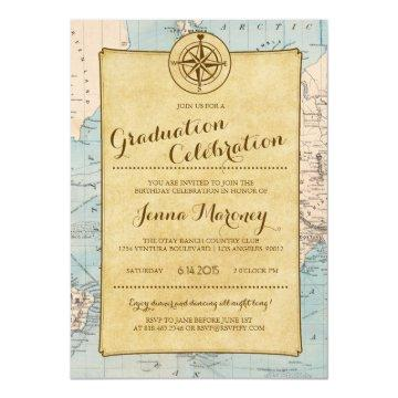Travel Map Graduation Celebration Invitation