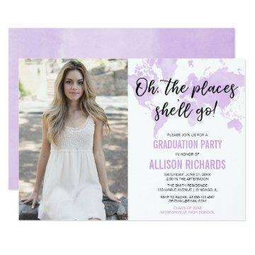 Travel oh the places she'll go graduation photo invitation