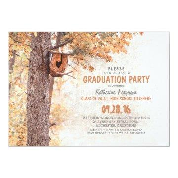 Tree and Bird House Rustic Fall Graduation Party Card
