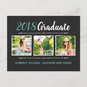 Trendy 3 Photo Collage Graduation Party Invitation