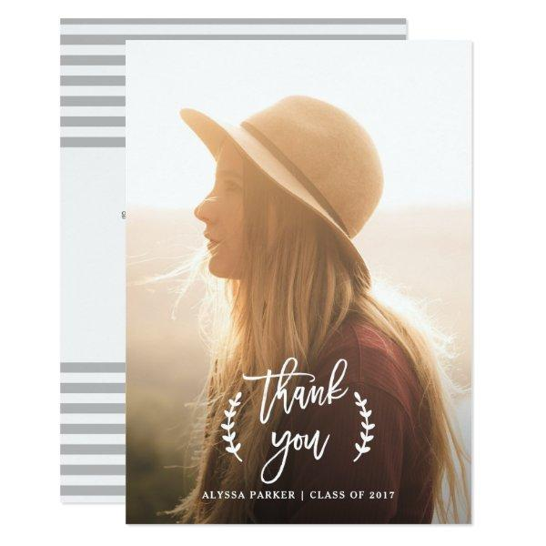 Trendy Botanical | Graduation Photo Thank You Card