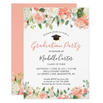 Trendy Coral Peach Floral Girl Graduation Party