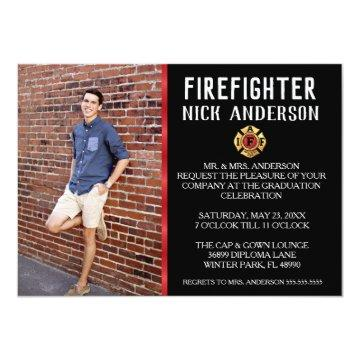 Trendy Firefighter School Graduation Announcement