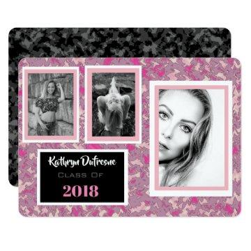 Trendy & Girly Camo Graduation Party Invitation