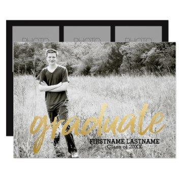 Trendy Graduation Announcement with 4 Photos gold
