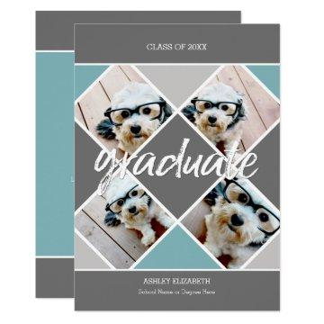 Trendy gray blue Graduation Photo Announcement