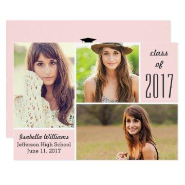 Trendy Pink Class of 2018 Graduation Photo Collage Card
