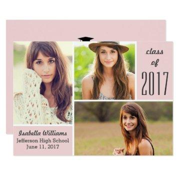Trendy Pink Class of 2018 Graduation Photo Collage