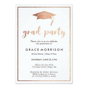Trendy Rose Gold Graduation Party Invitation