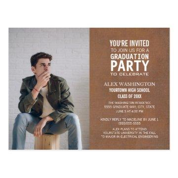 Trendy Rustic Brown Graduation Party Photo Postcard