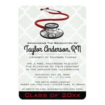 Trendy Stethoscope Medical School Graduation Invitation