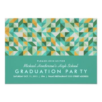 Triangle Mosaic Graduation Party Invite