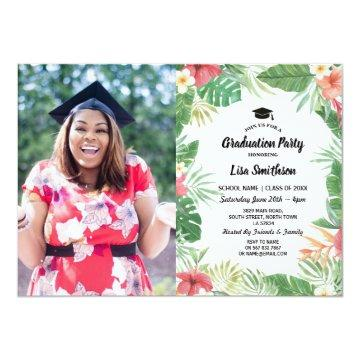 Tropical Aloha Luau Summer Flora Graduation Photo Invitation
