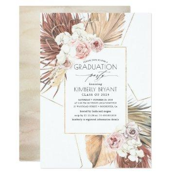 Tropical Dried Palm Leaves Foliage Graduation Invitation