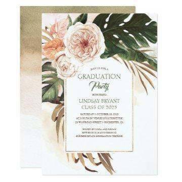 Tropical Flowers and Dried Palm Leaf Graduation Invitation