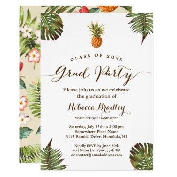 Tropical Graduation Party Luau Pineapple Leaves Invitation
