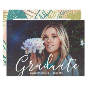 Tropical Luau Graduation Party Grad Photo Custom Invitation