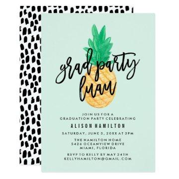 Tropical Luau Graduation Party Invitation in Mint