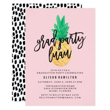 Tropical Luau Graduation Party Invitation in Pink