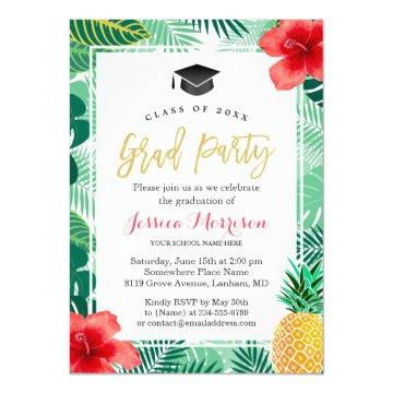Tropical Pineapple Luau Graduation Party Card